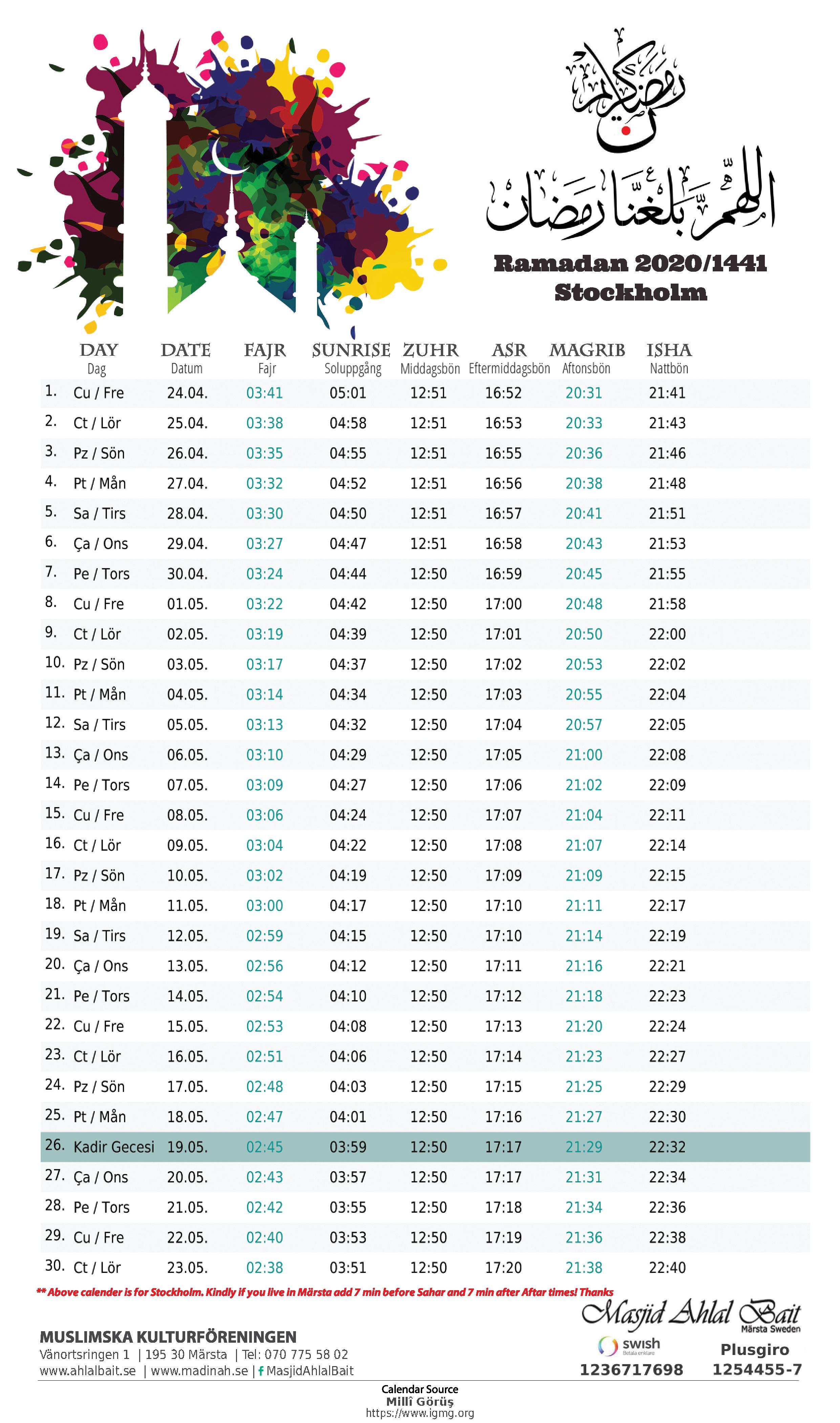 Ramzan timetable